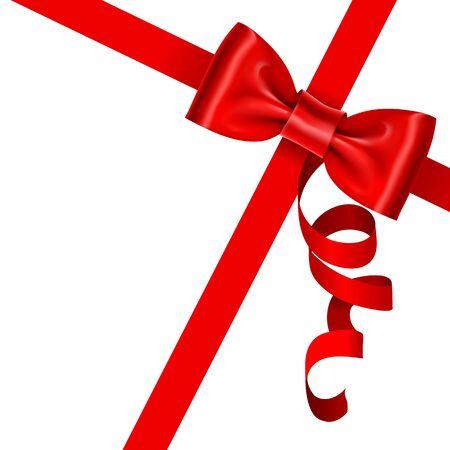 Rotes Band mit Bogen auf einem weißen Hintergrund. Vektor-Illustration Vektorgrafik