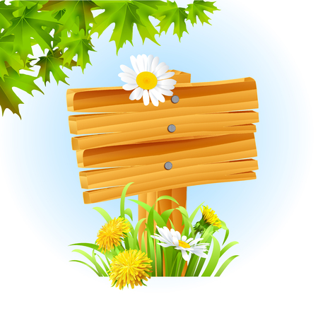 Vector illustration of a wooden signpost on white background Illustration