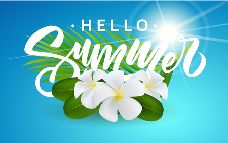Vector illustration of summer vacation. Exotic flowers and greeting letters floating in the shallow water of a tropical sea. Design for greeting card, poster or invitation.