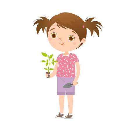 A cute cartoon dark-haired girl in shorts and a pink T-shirt stands and holds a tomato seedling in her hand.