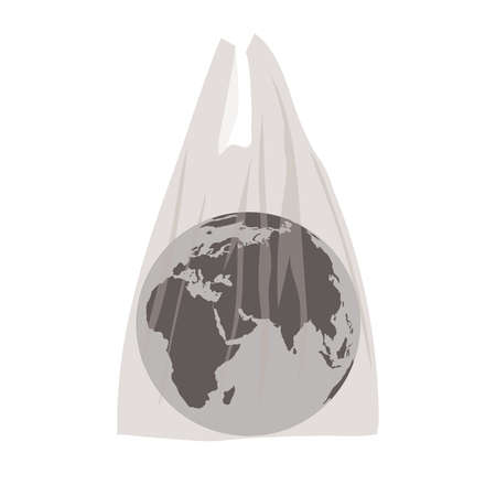 Concept illustration on the topic of plastic waste pollution with the image of the planet Earth in a plastic bag on a white background. Vettoriali