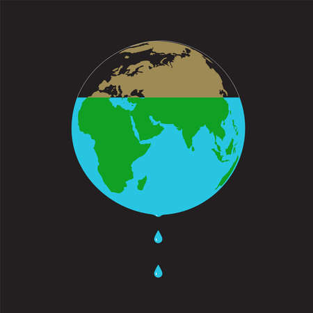 A conceptual illustration on a black background on the theme of saving water resources with the image of the planet Earth, from which water flows out drop by drop.