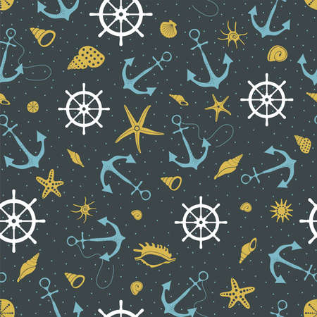 Graphic seamless pattern on black background with blue anchors, white rudders, golden starfish and seashells.