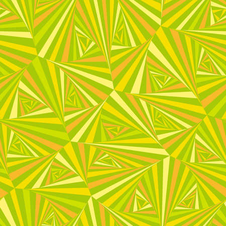 Abstract geometric seamless pattern in warm yellow-green tones, made up of triangles of different sizes and different colors.