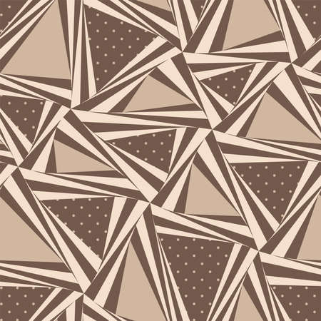Abstract seamless pattern in brown tones. Triangles of different shapes and different shades of color and texture. Vector Illustration