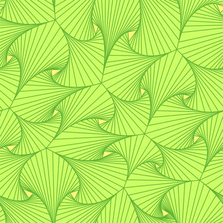Abstract graphic seamless pattern of curved green shapes with rhythmic lines inside the shape, with light yellow triangles between the shapes.
