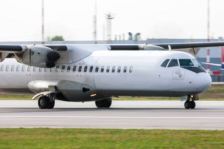 turboprop: Close up of a taxiing turboprop aircraft
