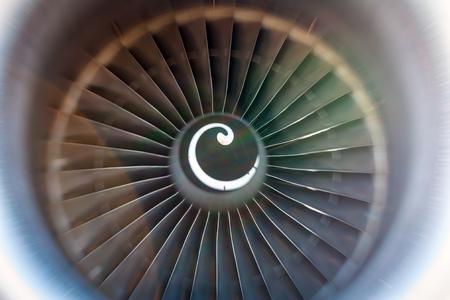turbojet: Rotating blades of the turbojet Stock Photo
