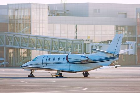 Private plane on the airport apron