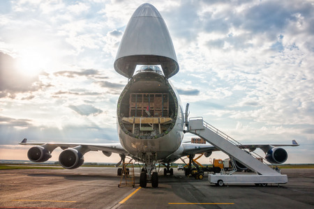 Unloading widebody cargo airplane Фото со стока - 60708969