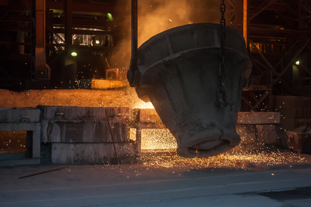 smelting plant: Smelting metal in a metallurgical plant Stock Photo