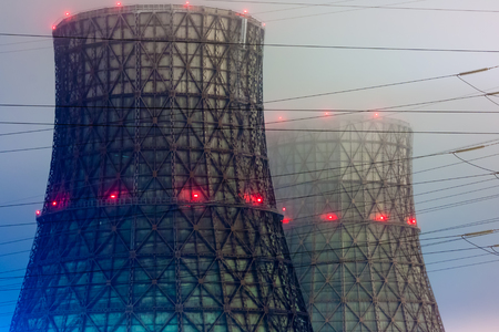 cooling towers: Power plant cooling towers in the night