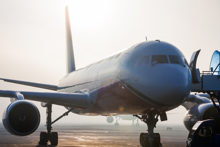 Самолеты в тумане на перрон