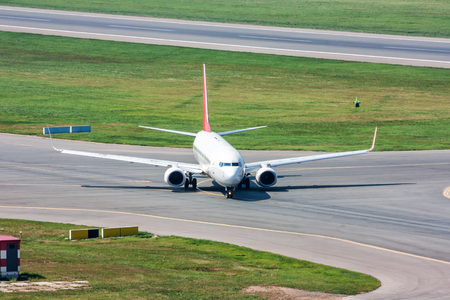 Passenger plane turns on taxiway