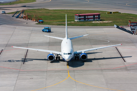 Top view airplane at airport apron