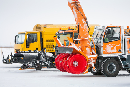Snow removal machines at the airport