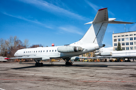 Repair and maintenance of passenger planes on the aviation technical base Фото со стока