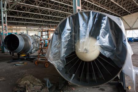 Aircraft engines in the hangar Фото со стока