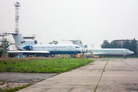 Passenger planes maintenance on the aviation technical base