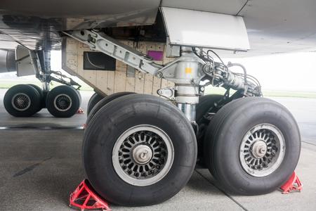 Main landing gear of big wide body airplane Фото со стока
