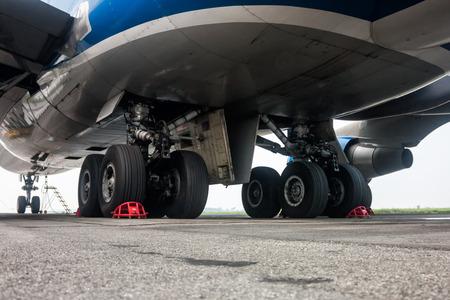 Landing gear of big wide body airplane