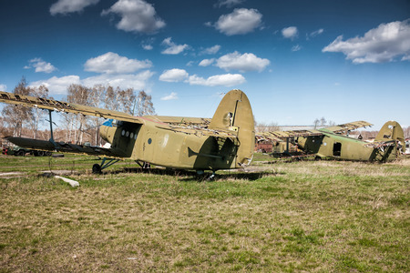Storage old biplanes Stock Photo