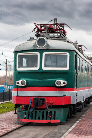 Electric locomotive on the station platform