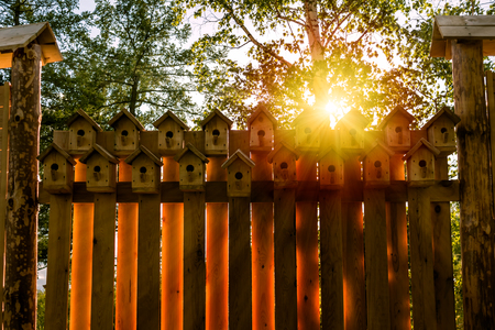 Fence from the birdhouses Фото со стока