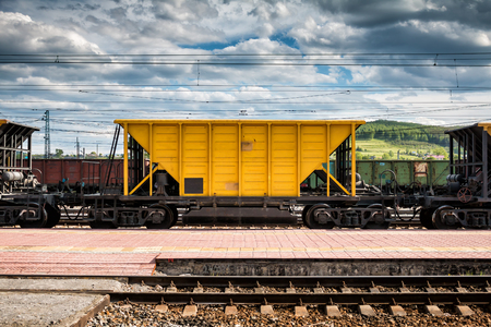 Freight railway carriages at the railroad station Фото со стока