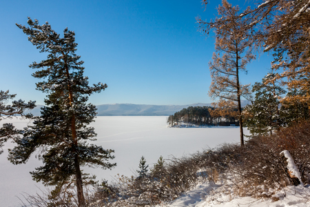 Scenic lake shore in winter Фото со стока