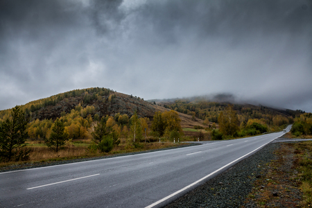 Road in the mountains with low clouds Фото со стока
