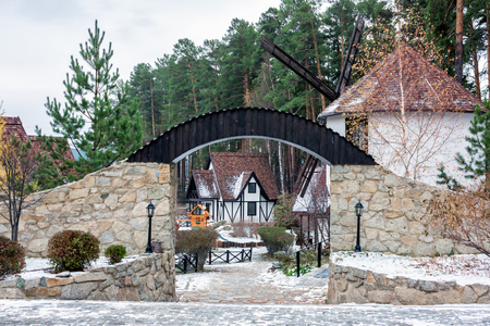 Traditional German village with a windmill in the winter Фото со стока - 101420998