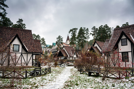 Fachwerk houses in snowy weather