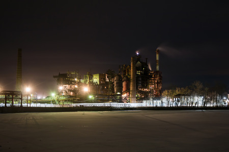 Industrial plant at winter night