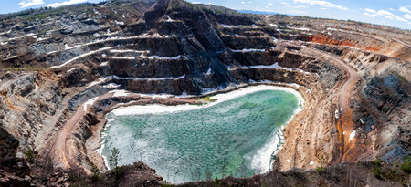 Panorama of a flooded quarry Фото со стока