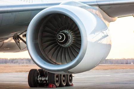 Close-up of engine of big white passenger airplane Reklamní fotografie
