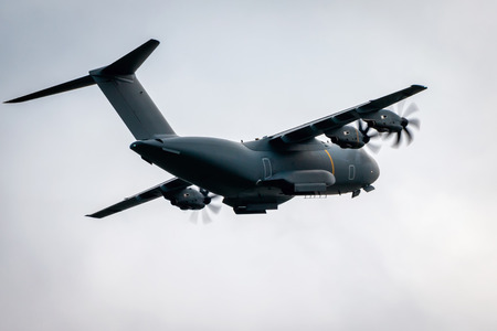 Heavy military transport turboprop aircraft in flight