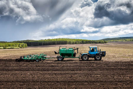 Tractor works in the field for sowing