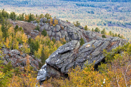 Rocky mountain ranges in autumn forest