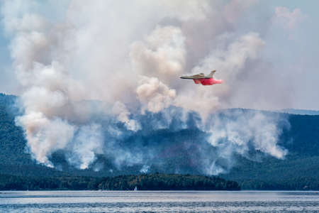 Amphibious airplane drops water on forest fire near the lake