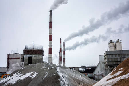 Fuming chimneys and industrial buildings of the condensing power plant