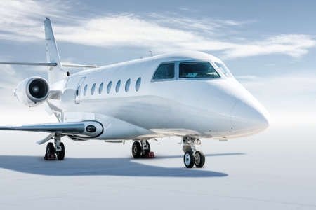 Modern white corporate business jet isolated on white