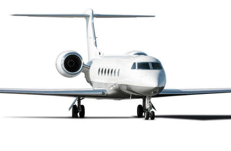 Modern white corporate business jet isolated on a white background Фото со стока