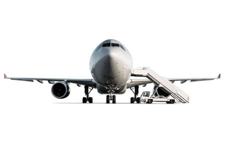 Front view of passenger airplane and boarding steps at the airport apron isolated on white background Фото со стока