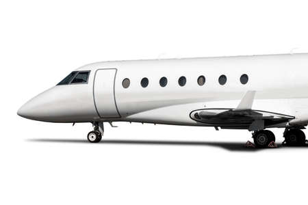 Close-up of the modern white corporate business jet isolated on white background