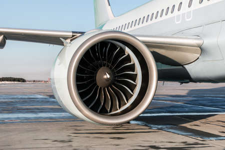 Close-up of engine of big passenger airplane