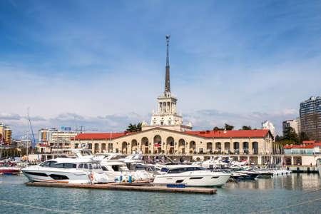 Sochi, Russia - March 30, 2021: Marine Station Sochi on a clear sunny day