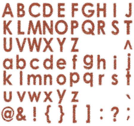 Carattere Brick Set vettore cifre mattone alfabeto