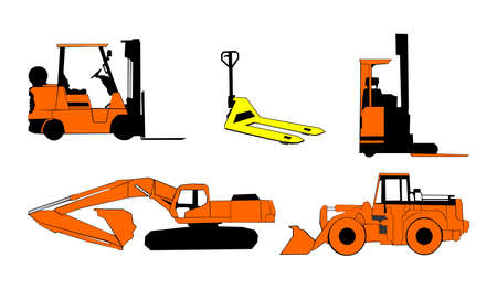 Construction machinery,  Construction and industrial machinery, vector Vector