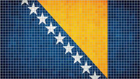 herzegovina: Abstract mosaic flag of Bosnia and Herzegovina,  The National flag of Bosnia and Herzegovina, Bosnian grunge mosaic flag Illustration